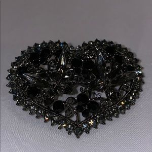 Heart shaped crystal and metal hair clip.  New.